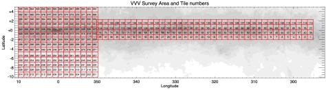 VVV Survey Area Tile Numbers