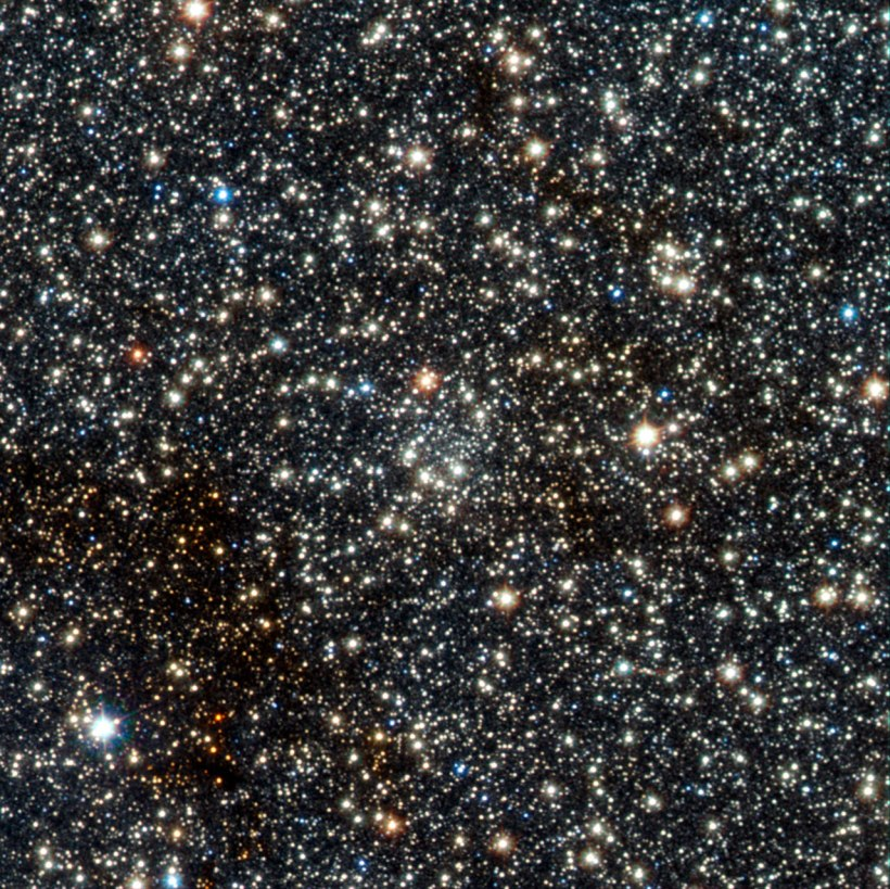 This image from VISTA is a tiny part of the VISTA Variables in the Via Lactea (VVV) survey that is systematically studying the central parts of the Milky Way in infrared light. In the centre lies the faint newly found globular star cluster, VVV CL002. This previously unknown globular, which appears as an inconspicuous concentration of faint stars near the centre of the picture, lies close to the centre of the Milky Way.