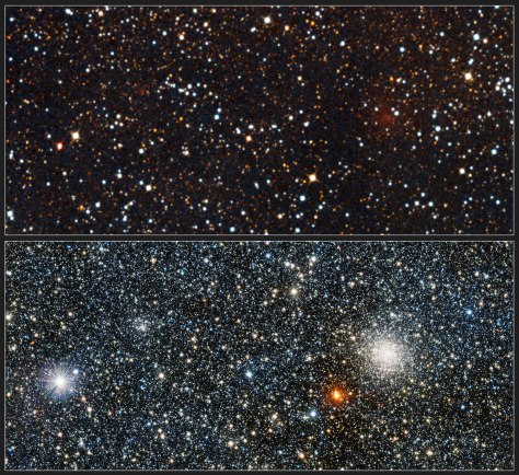 This picture shows a comparison of the view of the newly discovered globular cluster VVV CL001 in visible (upper) and infrared light (lower). The infrared view, from the VISTA telescope, shows the new cluster very clearly for the first time and allows many of the component stars to be studied. The visible-light version was created from photographs taken through blue, red and infrared filters and forming part of the Digitized Sky Survey 2. The better-known and brighter globular cluster UKS 1 appears on the right.