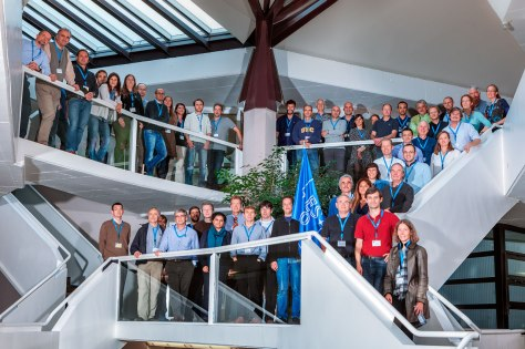 """Group photo of the workshop """"Rainbows on the Southern Sky: science and legacy value of the ESO Public Surveys and Large Programmes"""", held at ESO Headquarters in Garching on 5–9 October 2015. More information onhttp://www.eso.org/sci/meetings/2015/Rainbows2015.html"""